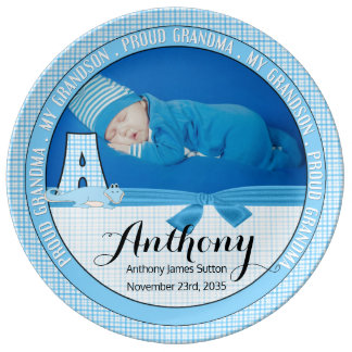"""New Grandma Letter """"A"""" Blue Check Baby Photo Plate"""