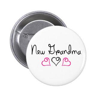New Grandma Pink Black Hearts Pin