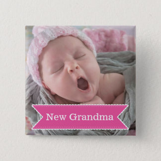 New Grandma Pink Tag Proud Photo Button