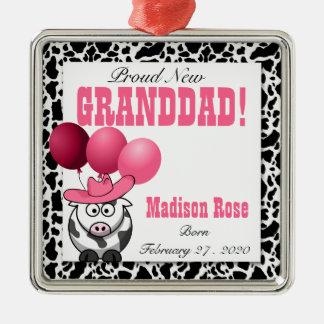 New Grandpa of a Cowgirl in Pink Silver-Colored Square Decoration