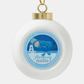New Grandparents Blue Gingham Baby Monogram A Ceramic Ball Christmas Ornament