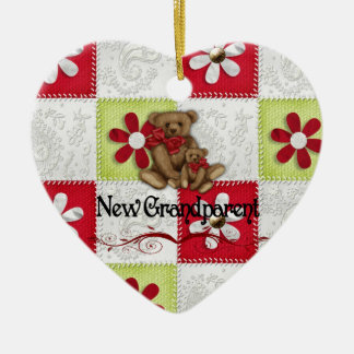 New Grandparents Christmas Ceramic Heart Decoration