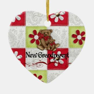 New Grandparents Christmas Ceramic Heart Decoration