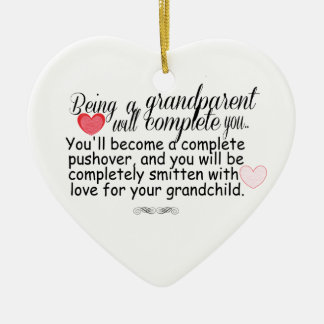 New Grandparents Double-Sided Heart Ceramic Christmas Ornament