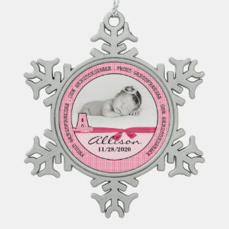New Grandparents of Baby Girl Monogoram A Pewter Snowflake Decoration