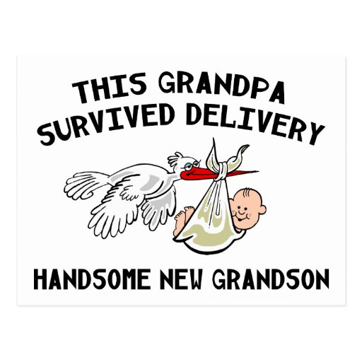 New Grandson T-Shirts Grandpa Survived Delivery Postcard