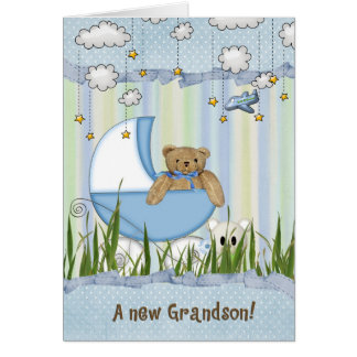 New Grandson-teddy bear in buggy Card