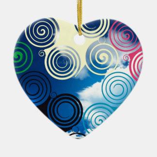 New graphic sky design ceramic heart decoration