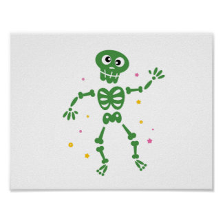 New! Green hand-drawn Skeleton on paper Poster