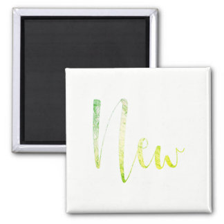 """""""New"""" Greenly White Blogger Writer Editorial Plan Square Magnet"""