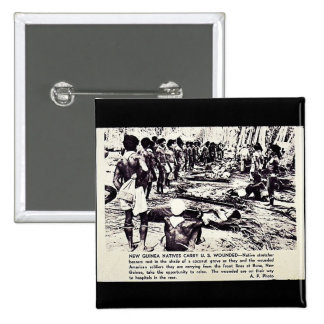 New Guinea Natives Carry U.S. Wounded 15 Cm Square Badge