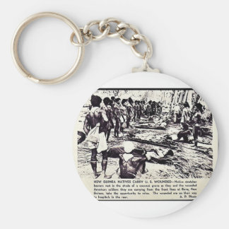 New Guinea Natives Carry U.S. Wounded Basic Round Button Key Ring