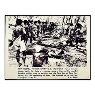 New Guinea Natives Carry U.S. Wounded Postcard