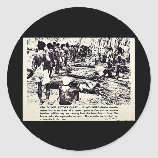 New Guinea Natives Carry U.S. Wounded Round Sticker