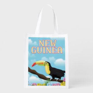 New Guinea Toucan travel poster Reusable Grocery Bag