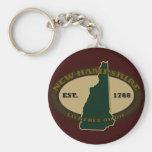 New Hampshire Est 1788 Basic Round Button Key Ring