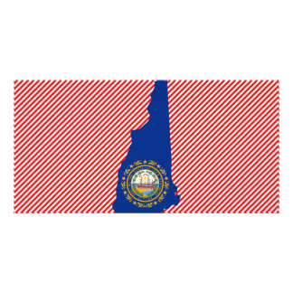 New Hampshire Flag Map Personalised Photo Card