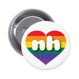 New Hampshire gay pride rainbow heart - mini love 6 Cm Round Badge