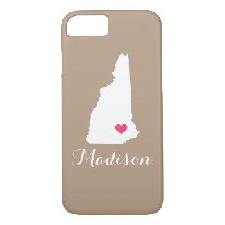 New Hampshire Heart Mocha Brown Custom Monogram iPhone 7 Case