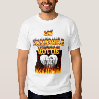 New Hampshire Hottie fire and red marble heart. Tee Shirt