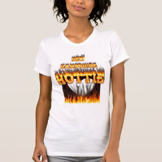 New Hampshire Hottie fire and red marble heart. T Shirts