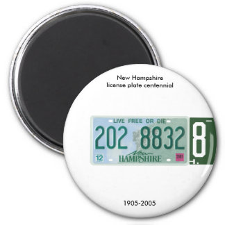 New Hampshire license plate centennial 6 Cm Round Magnet