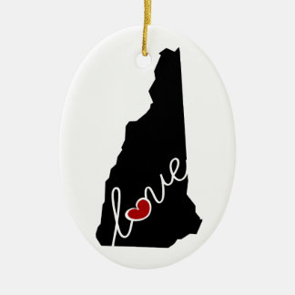 New Hampshire Love!  Gifts for NH Lovers Christmas Ornament
