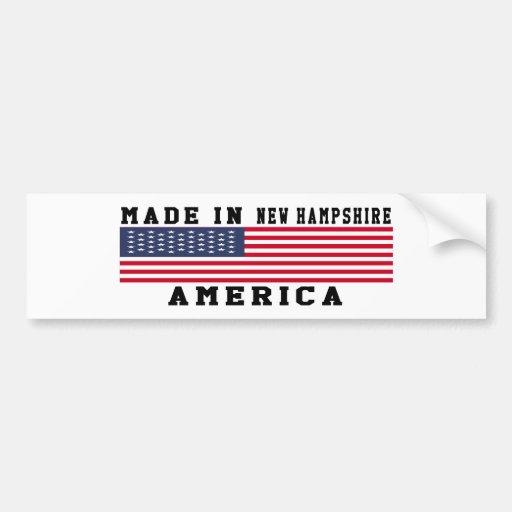 New Hampshire Made In Designs Bumper Sticker