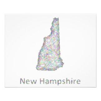 New Hampshire map 11.5 Cm X 14 Cm Flyer
