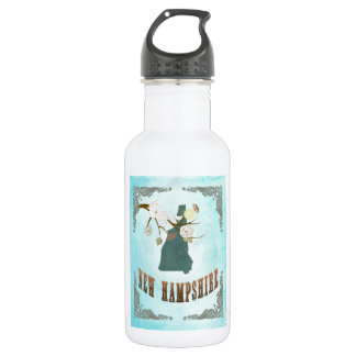 New Hampshire Map With Lovely Birds 532 Ml Water Bottle