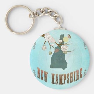 New Hampshire Map With Lovely Birds Basic Round Button Key Ring
