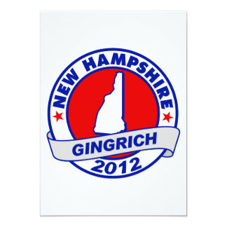 """New Hampshire Newt Gingrich 5"""" X 7"""" Invitation Card"""