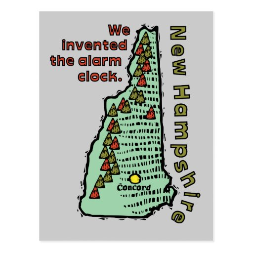 New Hampshire NH Motto ~ We Invented The Alarm Post Card