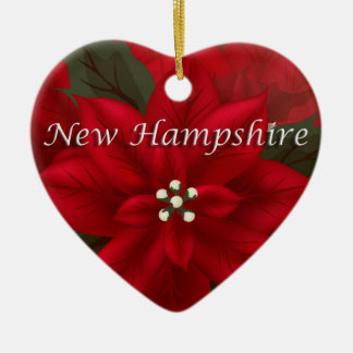 New Hampshire Poinsettia Heart  Keepsake Ornament