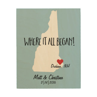 New Hampshire Rustic Wedding Couple Where it Began Wood Canvases
