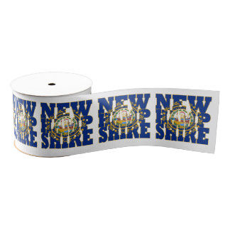 New Hampshire state flag typography design Grosgrain Ribbon