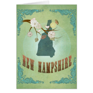 New Hampshire State Map – Green Greeting Card