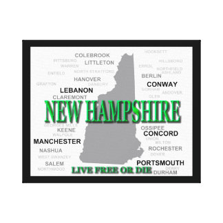 New Hampshire State Pride Map Silhouette Stretched Canvas Print