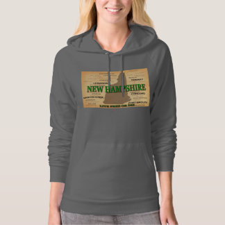 New Hampshire State Pride Map Silhouette Hoodie