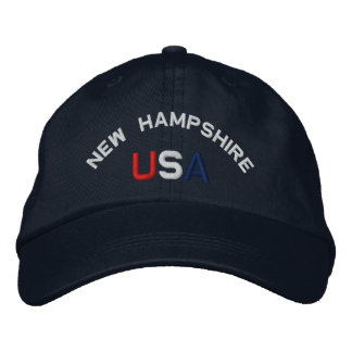 New Hampshire USA  Embroidered Navy Blue Hat Embroidered Baseball Caps