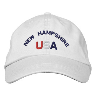 New Hampshire USA Embroidered White Hat Baseball Cap