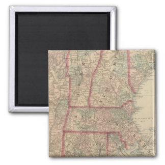 New Hampshire, Vermont, Massachusetts Square Magnet