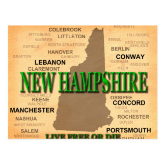 New Hampshire Vintage Map Postcard