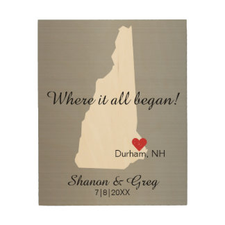 New Hampshire Wedding Couple Custom State Love Wood Print