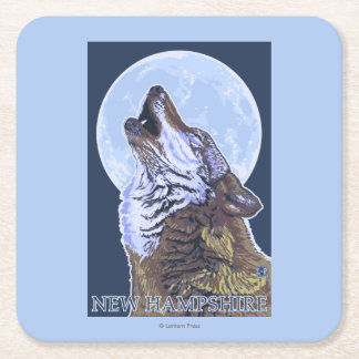 New HampshireHowling Wolf Square Paper Coaster