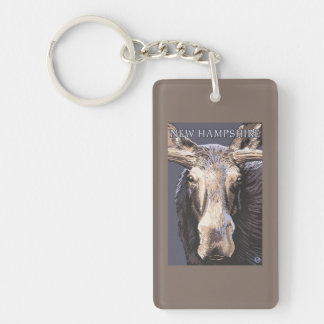 New HampshireMoose Up Close Key Ring