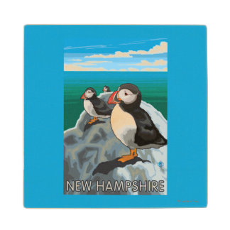 New HampshirePuffins Scene Wood Coaster