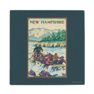 New HampshireRiver Rafting Scene Wood Coaster