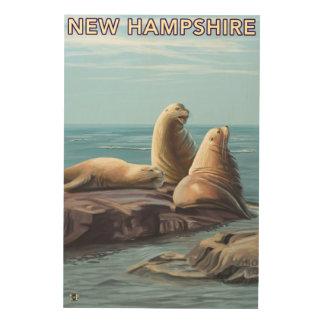 New HampshireSea Lions Scene Wood Print