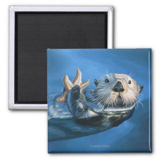 New HampshireSea Otter Scene Square Magnet